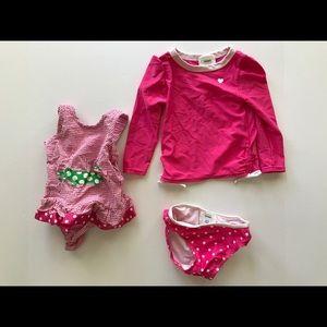 Girls Pink Bathing Suits Swimwear Lot of 2